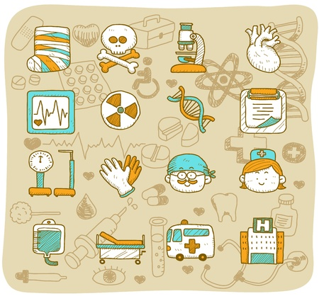 hand drawn health care & medical icons  Vector