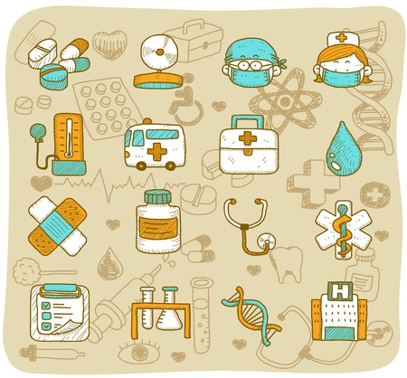 hand drawn health care & medical icons