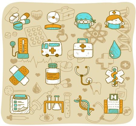 nurse injection: mano l'assistenza sanitaria disegnata & icone medici