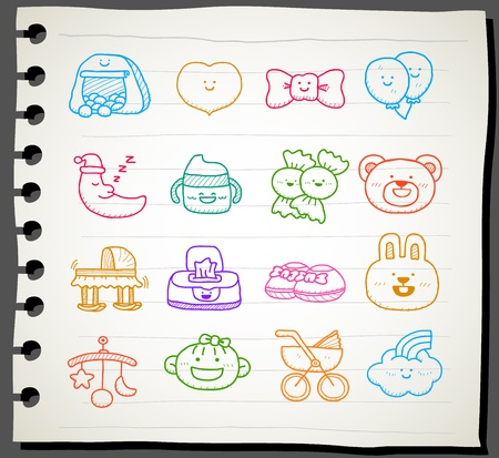 cradle: Hand drawn baby icon set