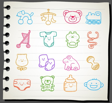 Hand drawn baby icon set Stock Vector - 12064053