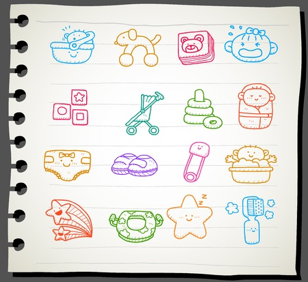 Hand drawn baby icon set Stock Vector - 12066284
