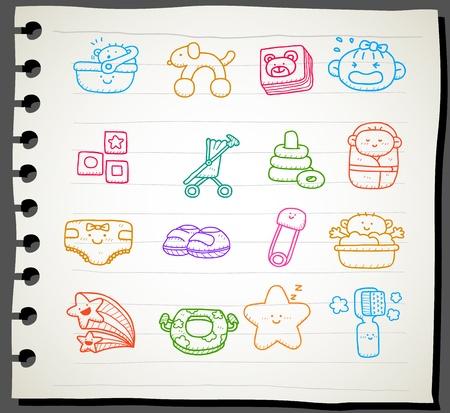 Hand gezeichnet Baby Icon Set