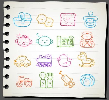 Hand drawn baby icon set Stock Vector - 12066283