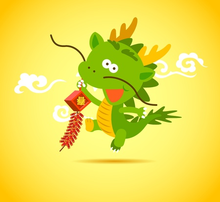 Baby Chinese Dragon holding a firecracker. Illustration