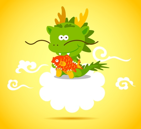 cute dragon: Baby Chinese Dragon holding a red fish