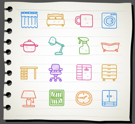 flower bed: Hand draw Furniture icon set