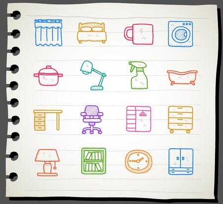 Hand draw Furniture icon set  Vector