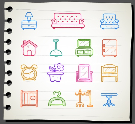 ilustration and painting: Hand draw Furniture icon set