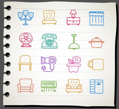 secador de pelo: Dibujar a mano Muebles icono de conjunto