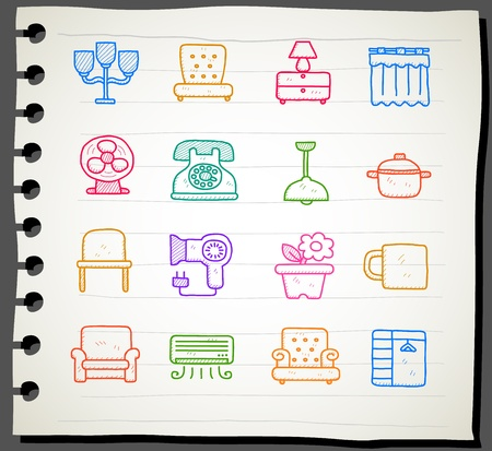 electric dryer: Hand draw Furniture icon set