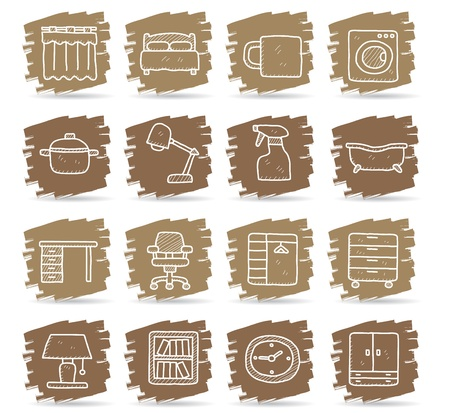 Hand draw Furniture icon set Stock Vector - 12040274