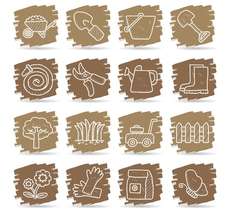Hand drawn Graden icon set Vector