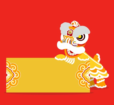 Lion Dancing and Chinese new year  Vector