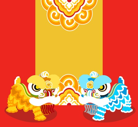 Lion Dancing and Chinese new year  Illustration