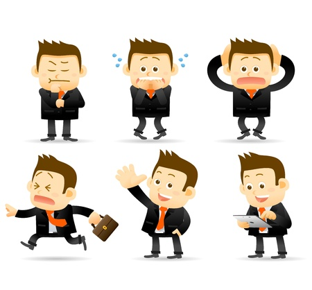 worried executive: businessman set Illustration