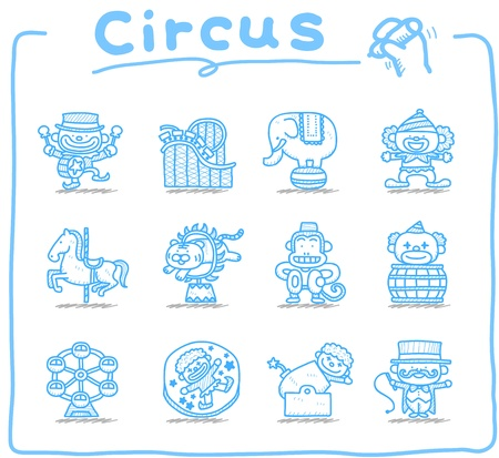 Hand drawn Circus icon set Vector