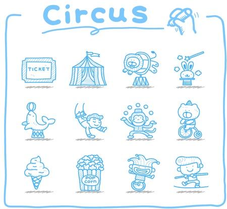 circus artist: Hand drawn Circus icon set