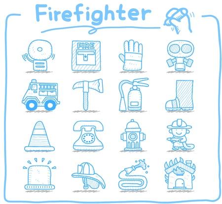 bombero de rojo: Dibujado a mano bombero, bombero, de emergencia conjunto de iconos