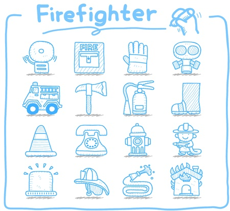 water hoses: Hand drawn firefighter,fireman,emergency icon set