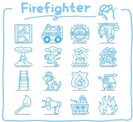 incendio bosco: Disegnata a mano pompiere, vigile del fuoco, emergenza set di icone