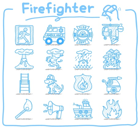 natural disaster: Hand drawn firefighter,fireman,emergency icon set