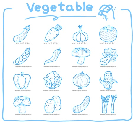 grapes and mushrooms: hand drawn vegetable icons set Illustration