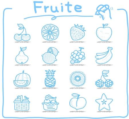 손으로 그린 과일 아이콘을 설정 일러스트
