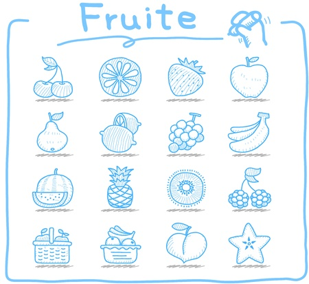 Hand drawn fruit icon set Vector