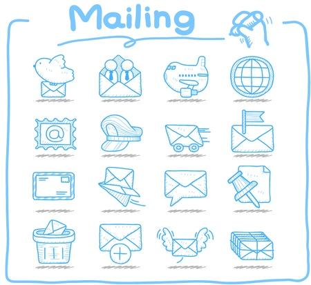cartero: Dibujado a mano de distribuci�n, la comunicaci�n conjunto de iconos