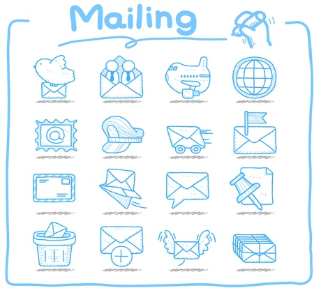 air mail: Hand drawn mailing ,communication icon set Illustration