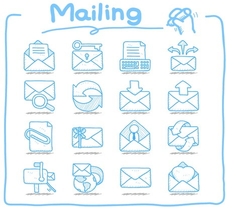 send email: Hand drawn mailing ,communication icon set Illustration