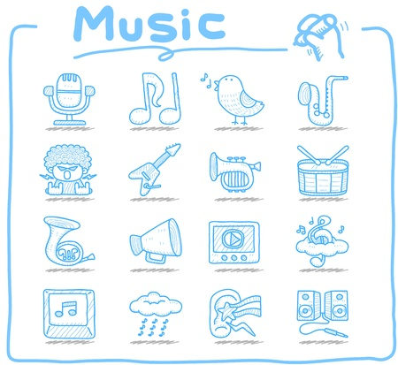 Hand drawn music icon set Stock Vector - 12312026