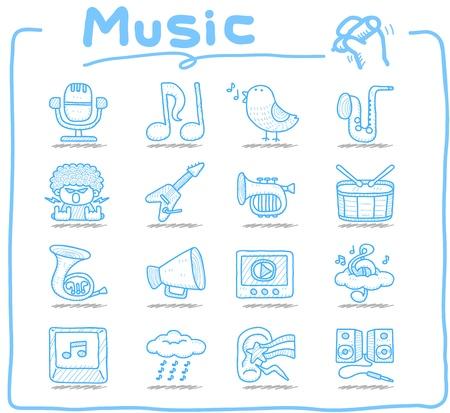 Hand drawn music icon set Vector