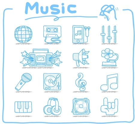 Main dessinée ensemble icône de la musique Vecteurs