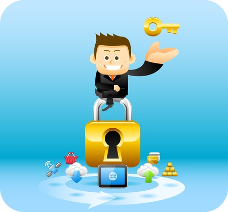 tablet pc in hand: Businessman, security lock concept