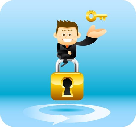 Businessman, security lock concept Stock Vector - 12312028