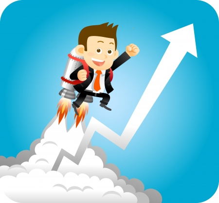 cartoon rocket: Businessman with launching rocket and growing arrow  Illustration