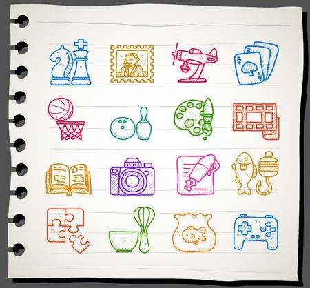 취미, 레저 및 휴일 아이콘 | 일련의 스케치북