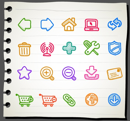 Sketchbook series |  internet,business,office icon set Vector