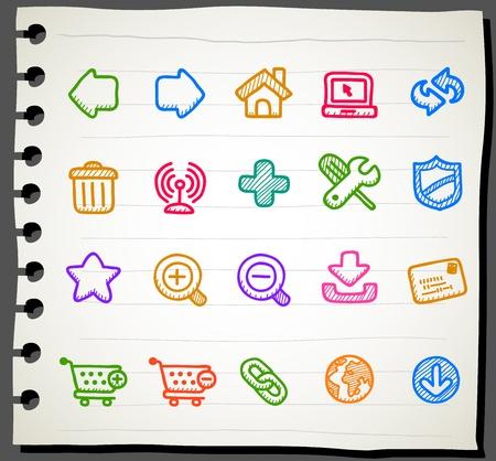 sketchbook: Sketchbook series |  internet,business,office icon set Illustration