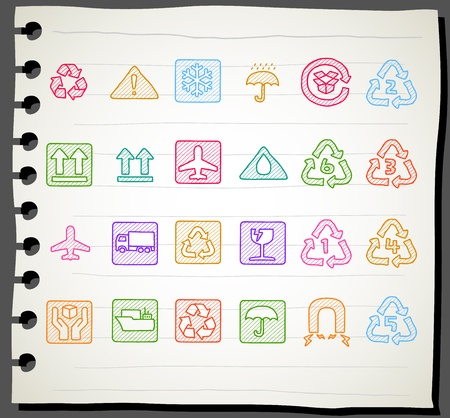 Sketchbook series |   Laundry Care ,washing symbols  Vector