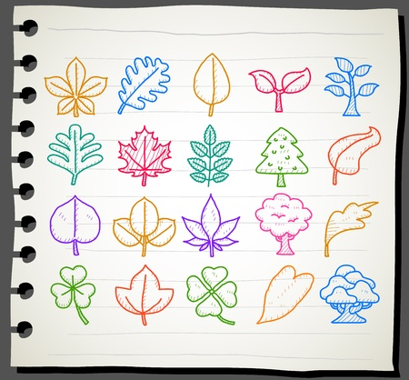 Sketchbook series |  leaf,eco,tree icon set Vector