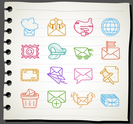 Sketchbook series |  mailing ,communication icon set Stock Vector - 12312035