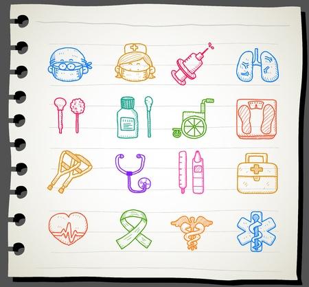 urgencias medicas: Sketchbook serie | m�dica, de emergencia conjunto de iconos Vectores