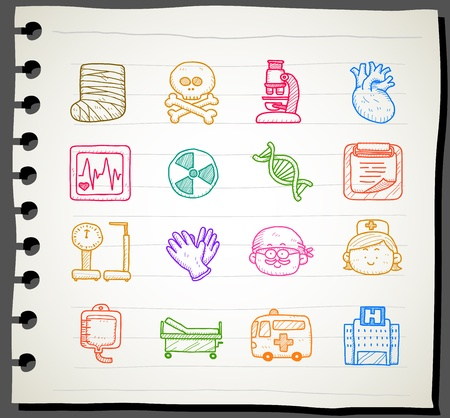 Sketchbook series |  medical , emergency icon set Vector