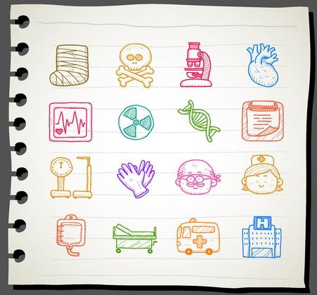 tippek: Sketchbook sorozat | orvosi, sürgősségi icon set Illusztráció