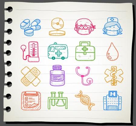 emergencia medica: Sketchbook serie | m�dica, de emergencia conjunto de iconos Vectores