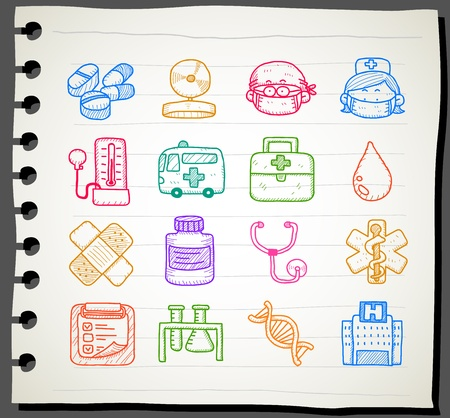 medical emergency service: Sketchbook series |  medical , emergency icon set