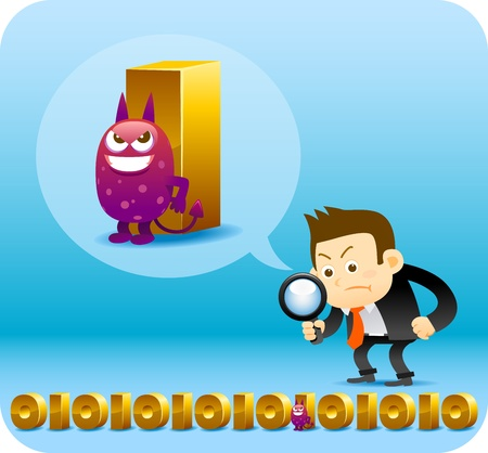 debug: Businessman finding bug from digital data